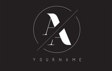 AA A Letter Logo With Cutted And Intersected Design And Round Frame.