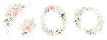 Watercolor Floral Wreath / Frame / Bouquet Set With Green Leaves, Gold Shapes, Pink Peach Blush Flowers And Branches, For Wedding Stationary, Wallpapers, Fashion. Eucalyptus, Olive, Green Leaves, Rose