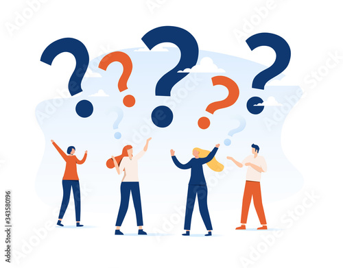 Vector illustration, concept illustration of people frequently asked questions a Tapéta, Fotótapéta
