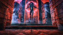 Giant Female Goddess Hovering Over The Center Of An Occult Temple