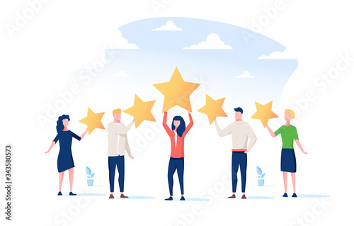 Happy people are holding review stars over their heads Poster Mural XXL