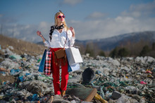 Modern Woman On Landfill, Consumerism Versus Pollution Concept.