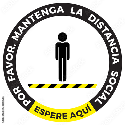 Coronavirus COVID-19 virus social distancing concept. Wait here spanish language and Stay two meters apart. Flat icon vector illustration