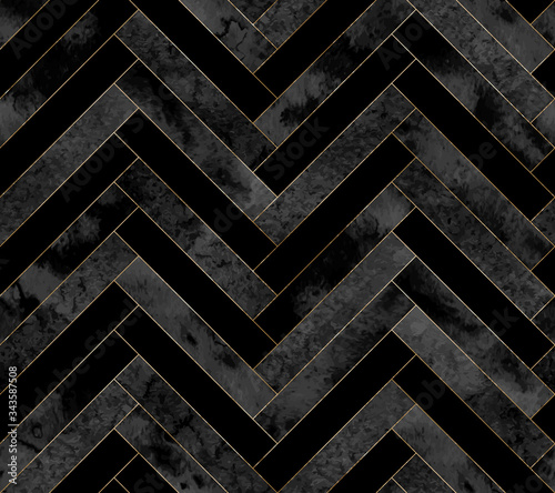 Photo Seamless abstract zigzag geometric herringbone pattern with watercolor and gold