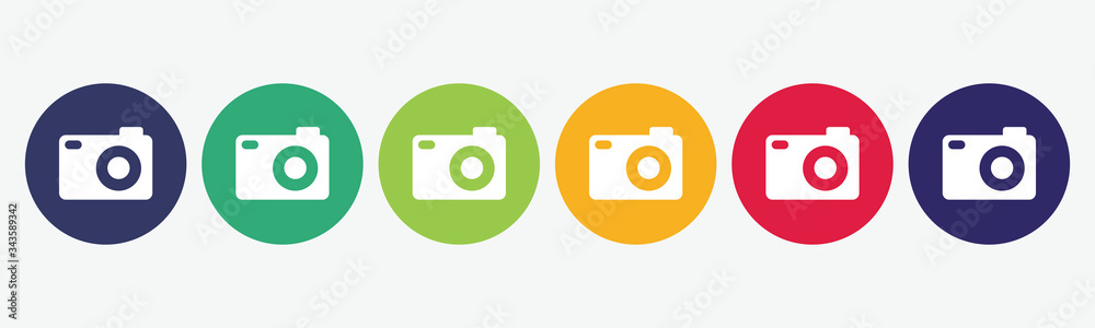Fototapeta Set collection 6 buttons photo camera icon. - obraz na płótnie