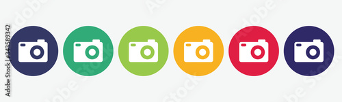 Obraz Set collection 6 buttons photo camera icon. - fototapety do salonu
