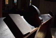 Bible On Pew In Church
