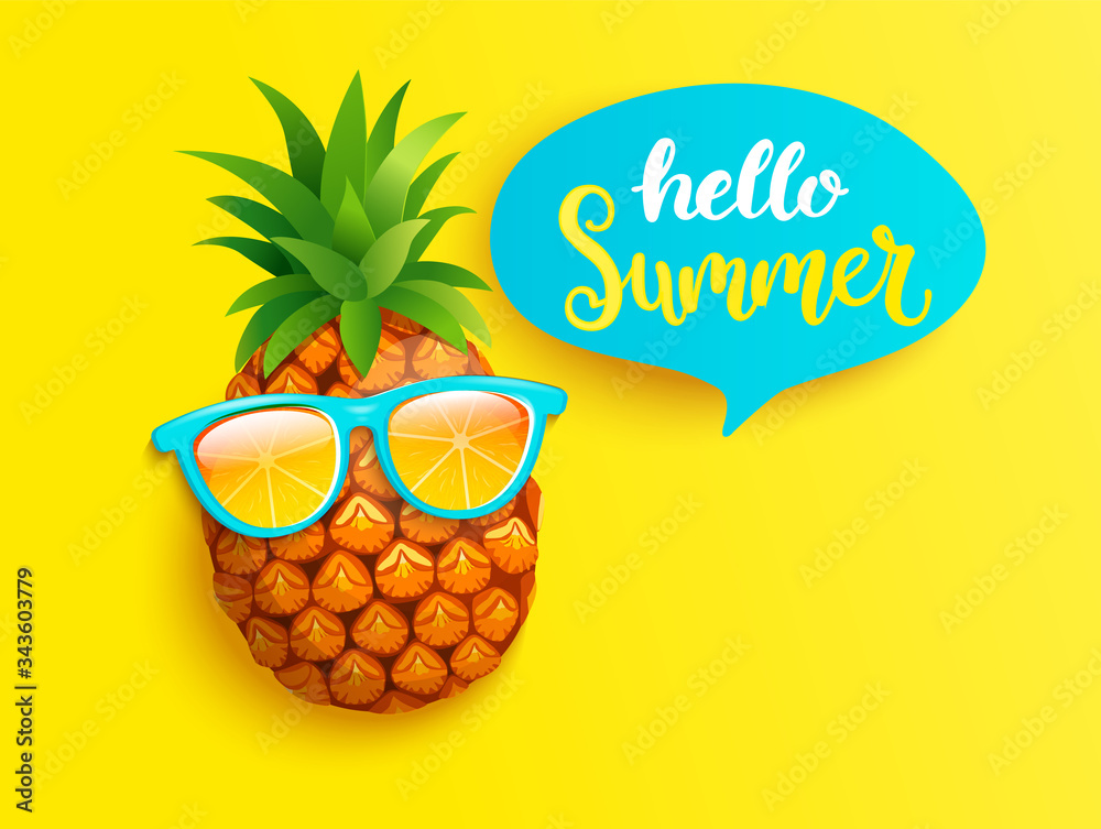 Fototapeta Hipster pineapple in orange sunglasses greeting summer on yellow background. Welcome banner for hot season. Hello party, fun and picnics. Bright poster with exotic fruit. Vector illustration.