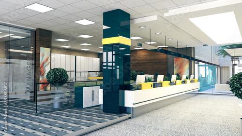 Fototapeta open space office perspective realistic 3D rendering obraz