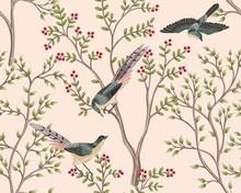 Vintage Garden Tree, Bird Floral Seamless Pattern Pink Background. Exotic Chinoiserie Wallpaper.