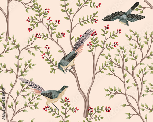 Vintage garden tree, bird floral seamless pattern pink background. Exotic chinoiserie wallpaper.