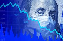 COVID-19 Impacts To Business, Dollar Money And Graph Of Stock Market Crash During Coronavirus Pandemic. World Economy Hits By Novel Corona Virus.