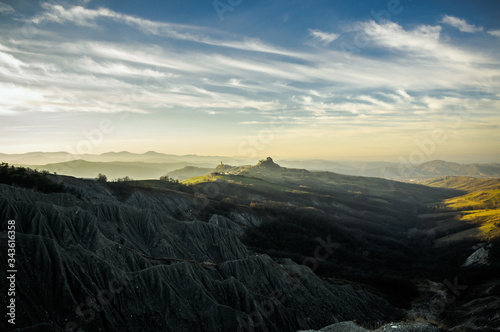 Panorama of Reggio Apennines near Canossa (Italy), with calanchi (gullies or badlands) in the foreground Canvas Print