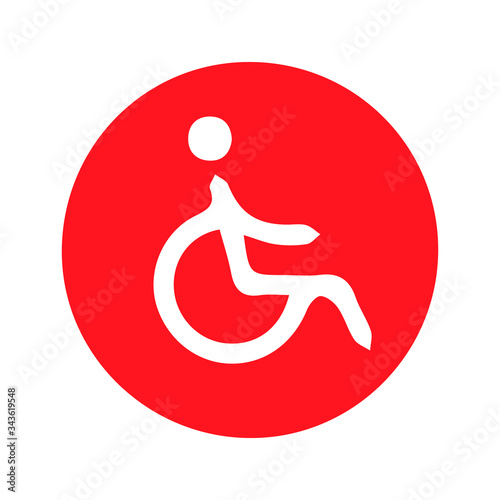 Disabled person and wheelchair / handicapped access sign Wallpaper Mural