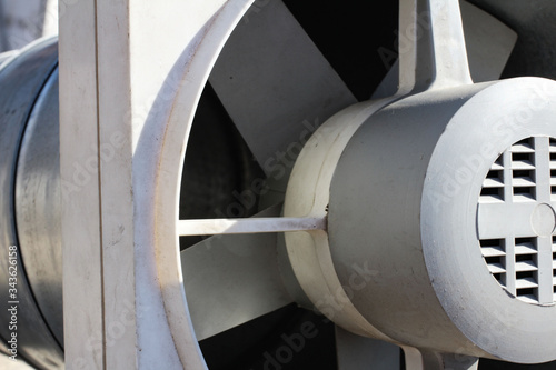 Valokuva closeup view from inside the galvanized steel air duct on the exhaust fan in the