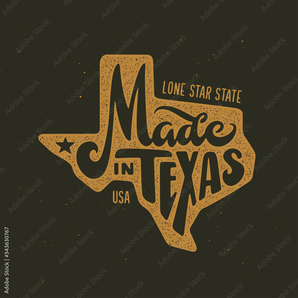 Fototapeta Texas related t-shirt design. Vintage vector illustration.