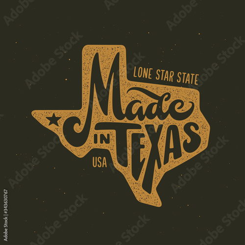 Photographie Texas related t-shirt design. Vintage vector illustration.