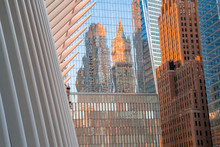 View Of The Oculus Architecture Details In Lower Manhattan At Sunset.
