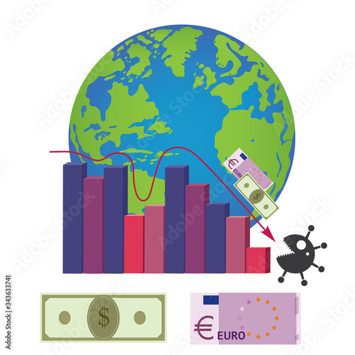 Fotografia Vector illustration depicts the growth and decline of the global economy from 2004 to 2020