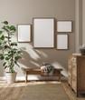 Leinwanddruck Bild - Mockup frame in farmhouse living room interior, 3d render