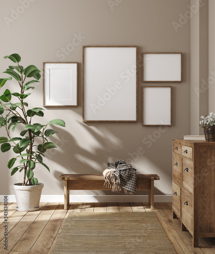 Mockup frame in farmhouse living room interior, 3d render