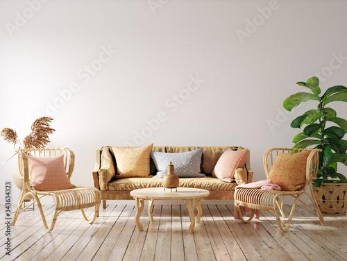 Fototapeta Cozy living room interior with wicker furniture, wall mockup, 3d render obraz