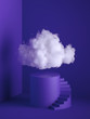 Leinwandbild Motiv 3d render, white fluffy cloud above the cylinder pedestal, spiral stairs, steps, round podium, minimal room interior. Isolated objects, violet blue background, modern design, abstract metaphor