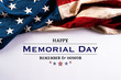 Leinwandbild Motiv Happy Memorial Day. American flags with the text REMEMBER & HONOR against a white background. May 25.