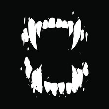 Vampire Teeth Vector Isolated On Black Background