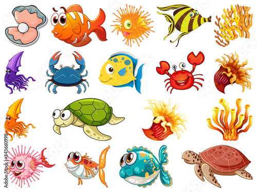 Large set of sea creatures on white background Canvas Print