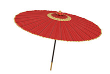 Red Japanese Umbrella Isolated...