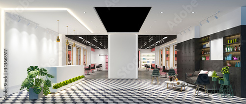 Fototapeta 3d render of luxury fashion shop obraz