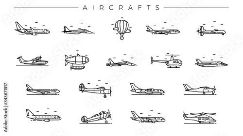 Fotografía Aircrafts concept line style vector icons set.