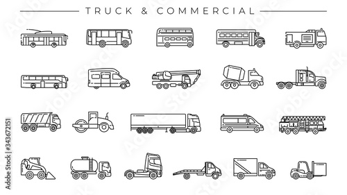 Valokuva Truck and Commercial concept line style vector icons set.