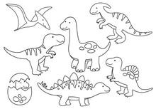 Vector Line Set Of Dinosaurs. ...