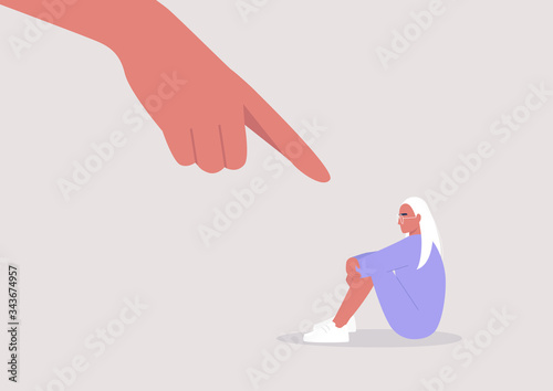 Fotomural Bullying, Pointing finger, Hate, Sexism, Sad female character hugging their knee