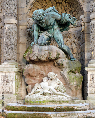 Fotografie, Tablou Polyphemus Surprising Acis and Galatea as part of the Medici Fountain in the Lux