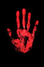 Red Human Hand Print On Black ...