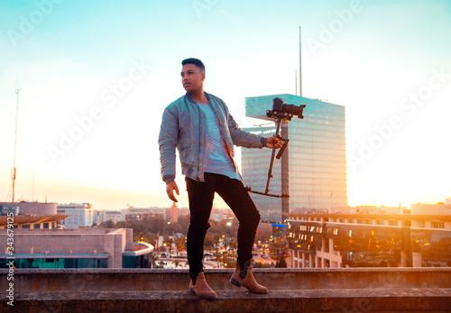 Obraz na plátně A filmmaker looks at his camera