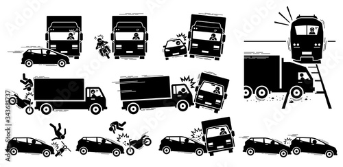 Fototapeta Road accident and vehicle crash collision icons