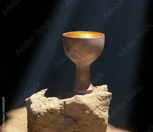 Canvastavla Holy Grail Sitting on a Rock