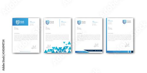 Fototapeta modern blue letterhead design templates obraz