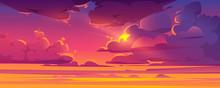 Sunset Sky With Sun Peek Out O...