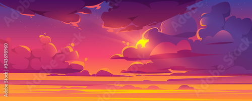 Obraz Sunset sky with sun peek out of fluffy clouds. Beautiful nature landscape background, pink, orange and lilac cloudscape evening or morning view with shining Sol and stars. Cartoon vector illustration - fototapety do salonu