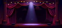 Dark Theater Stage With Red Cu...