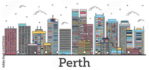 Outline Perth Australia City Skyline with Color Buildings Isolated on White.