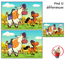 Bull And Pony In Jockey Caps. Find 10 Differences. Educational Game For Children. Cartoon Vector Illustration