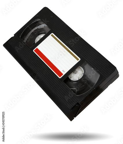 Obraz na plátne old black VHS video tape cassette isolated on white background