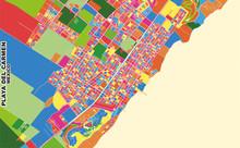Playa Del Carmen, Quintana Roo, Mexico, Colorful Vector Map