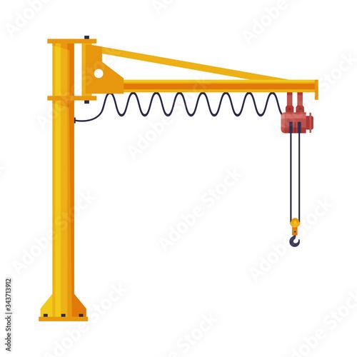 Jib Crane, Elevating Construction Equipment Flat Vector Illustration Fototapeta